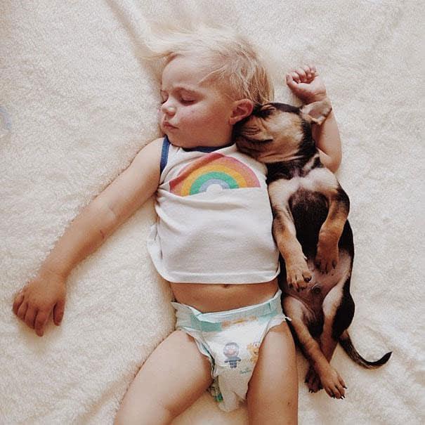 Amitié entre un bébé et un chiot - 17