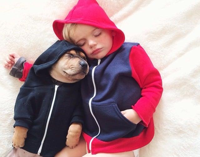 Amitié entre un bébé et un chiot – 8