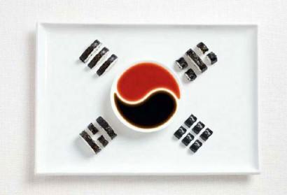 18 drapeaux réalisés à partir de spécialités culinaires locales