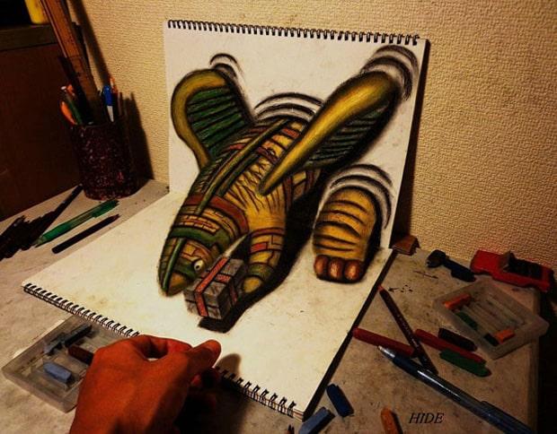 Illusions optiques au crayon papier - 14