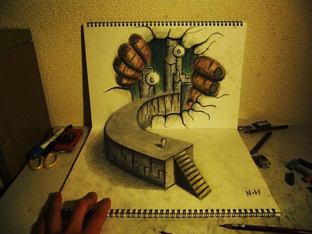 Illusions optiques au crayon papier - 3