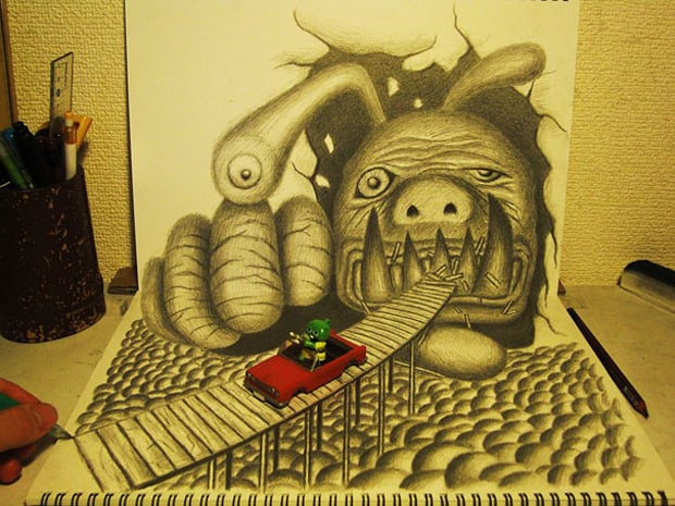 Illusions optiques au crayon papier - 4