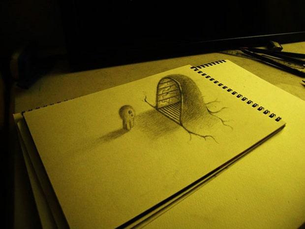Illusions optiques au crayon papier – 5