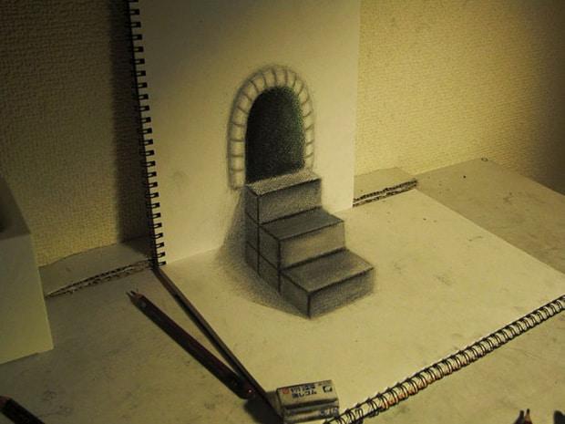 Illusions optiques au crayon papier - 6