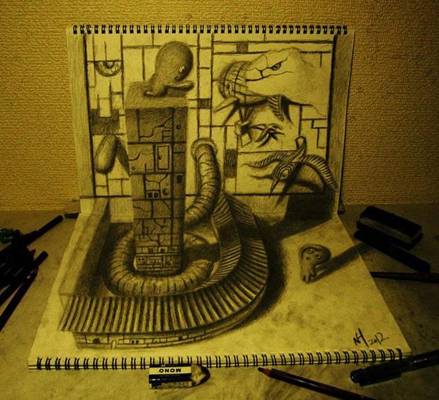 Illusions optiques au crayon papier - 7
