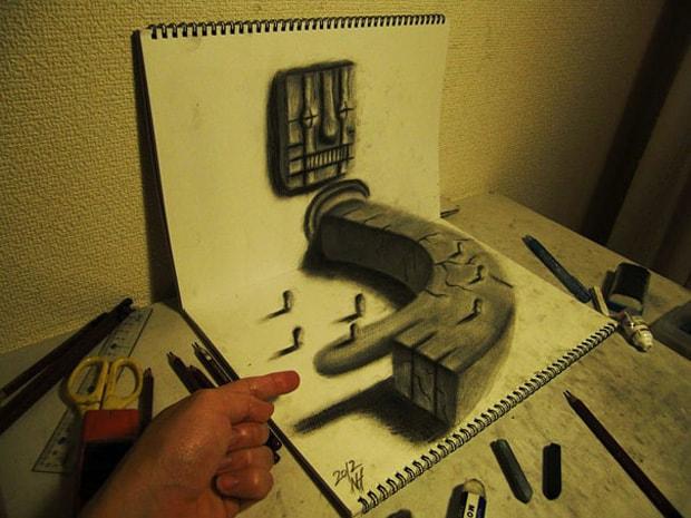 Illusions optiques au crayon papier - 8