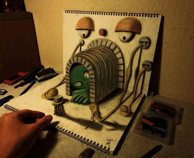 Illusions optiques au crayon papier - 9